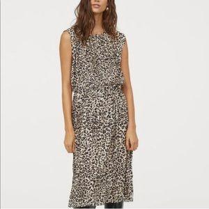 H&M Leopard Print Pleated Dress